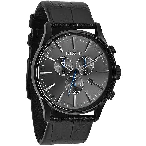 Nixon Sentry Chrono - Reloj de cuarzo para hombre, correa de cuero color negro