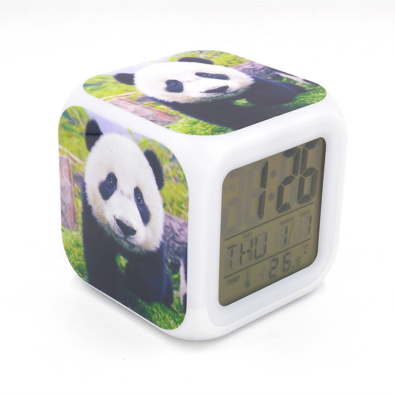 BoFy Led Alarm Clock Little Panda Animal Pattern Personality Creative Noiseless Multi-Functional Electronic Desk Table Digital Alarm Clock for Unisex Adults Kids Toy Gift
