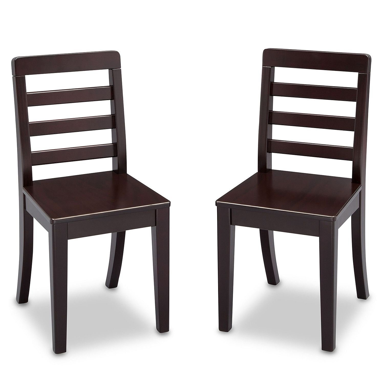 Children's Modern Simplistic Table and Chairs 3-Piece Set (Dark Chocolate Brown)