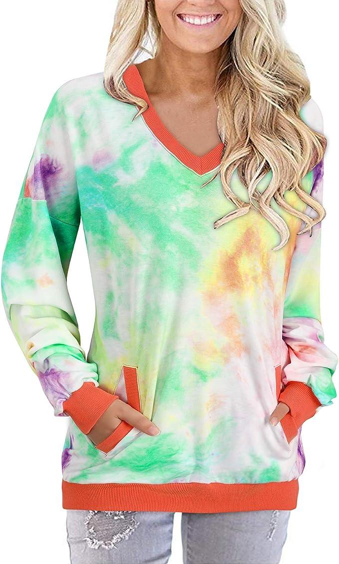 EINCcm Women Tie Dye Long Sleeve Long Sweatshirts with Pocket O-Neck Shirt Dress Tie-dye Baggy Look Long Pullover Dress