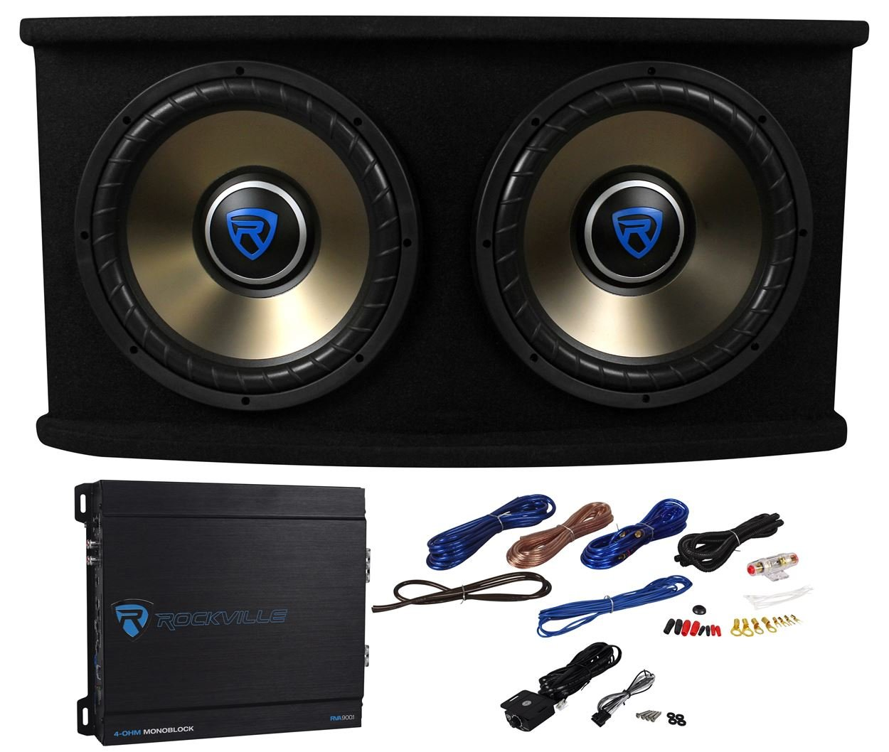 Rockville RVSPL12.2 Dual 12'' 1800w Car Subwoofer+Sub Box+Amp+Wires Bass Package