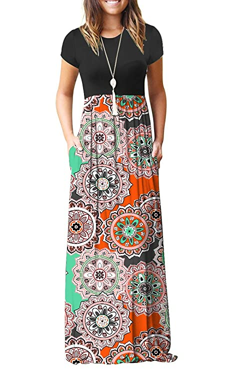 AUSELILY Women's Round Neck Short Sleeve Maxi Dresses Casual Long Dresses with Pockets(XL,Round Floral Orange) best maxi dress