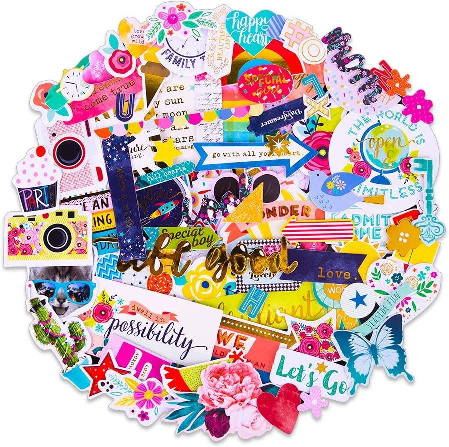 Amazon Com Facraft Scrapbooking Supplies Ephemera Die Cuts Happy Birthday Stickers 97 Pcs Birthday