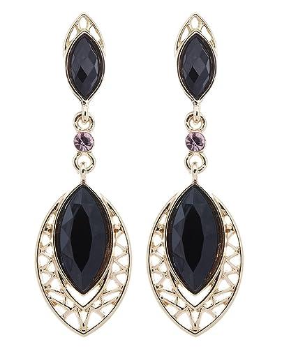 Durchsuchen Sie die neuesten Kollektionen auf Füßen Bilder von wie man kauft Ohrclips - vergoldet Ohrring mit schwarzen ovalen Steinen - Velma von Bello  London