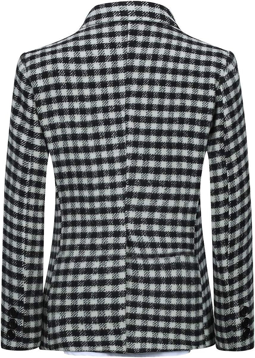 Boys Plaid Blazer Suit Slim Fit Fashion Dress Black and White Check