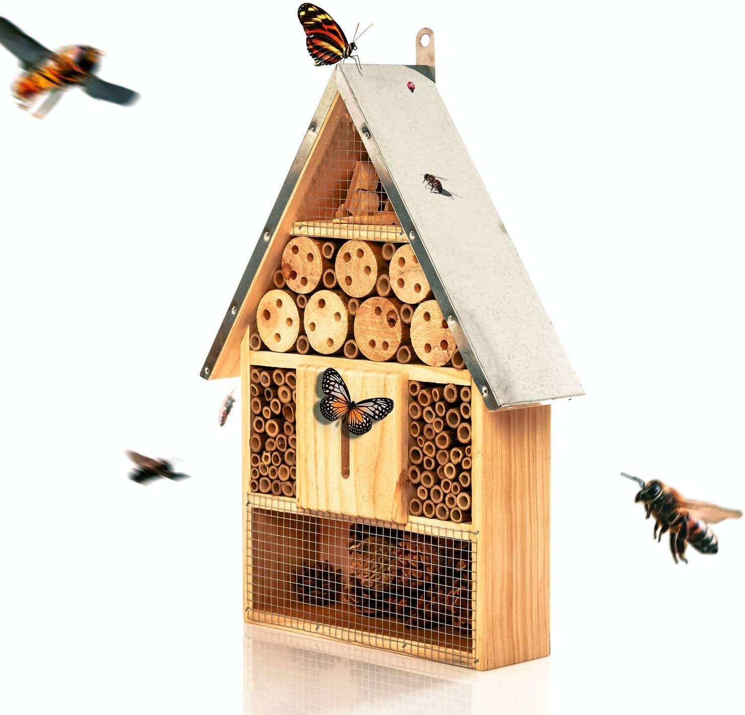 bambuswald© Hotel de Insectos 23 x 7 x 39,5 cm | Casa para Abejas Moscas escarabajos Mariposas - con Techo de Metal| Refugio y Lugar de anidación -Protección de Especies en el jardín