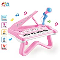 ToyVelt Toy Piano for Toddler Girls – Cute Piano for Kids with Built-in Microphone...