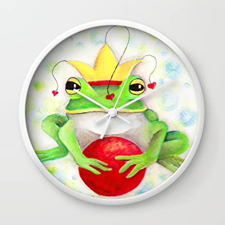 Amazon.com: Society6 Whimiscal Frog With Red Ball Wall Clock White ...