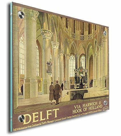 Amazon.com: Delft Old Travel Poster Acrylic Print Wall Decor Wall ...