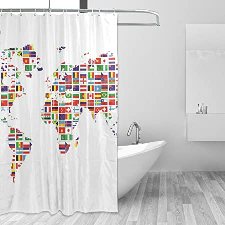 Shower Curtain World Map Design Bathroom Waterproof Fabric 72 inch 12 Hooks