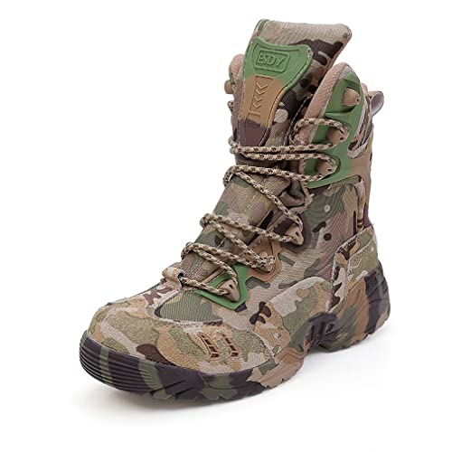 delicate colors laest technology incredible prices emansmoer Men's High-top Suede Camo Army Tactical Combat Boots Waterproof  Breathable Outdoor Trekking Hiking Boots Shoes