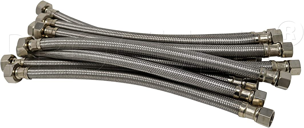 Braided Stainless Steel PROCURU 16 Length x 3//8 Compression x 1//2 FIP Faucet Supply Line Connector 4-Pack