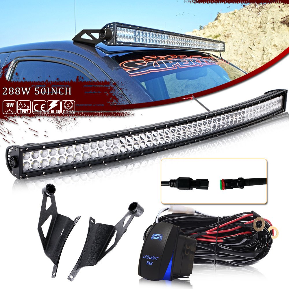 50inch 288w Curved Led Work Light Bar Dt Wiring Harness Kit Rocker For 52 Switch 48
