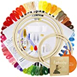 Caydo Full Range of Embroidery Starter Kit Including Instructions, 5 Pieces Bamboo Embroidery Hoops, 50 Color Threads, 2…