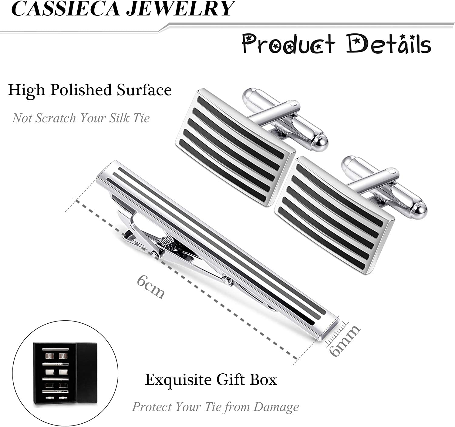 Hicarer 8 Pieces Tie Clip Classic Style Tie Bar Clip with Gift Box for Regular Ties Necktie Wedding Business Clips