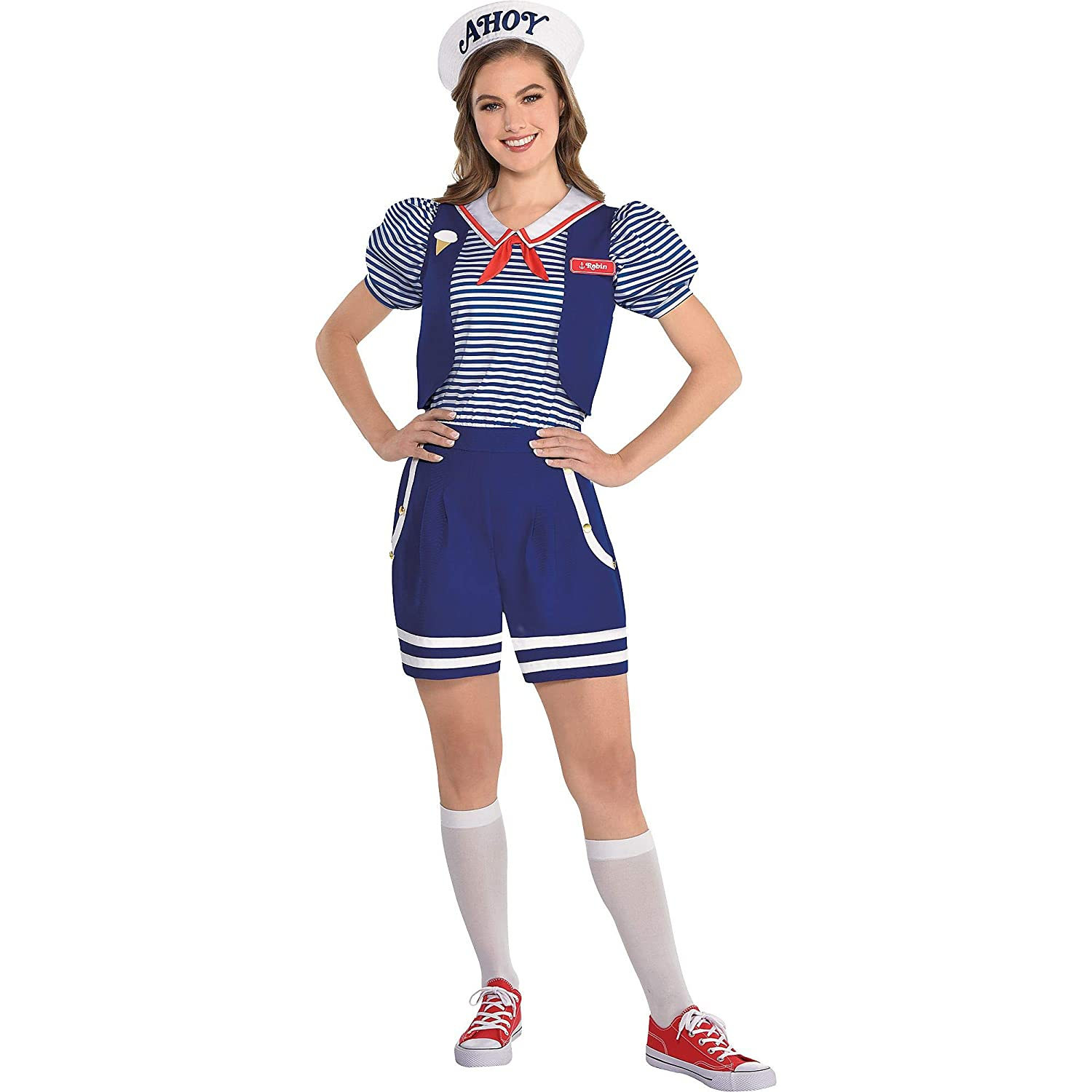 Stranger Things with Accessories Party City Robin Scoops Ahoy Halloween Costume for Adults