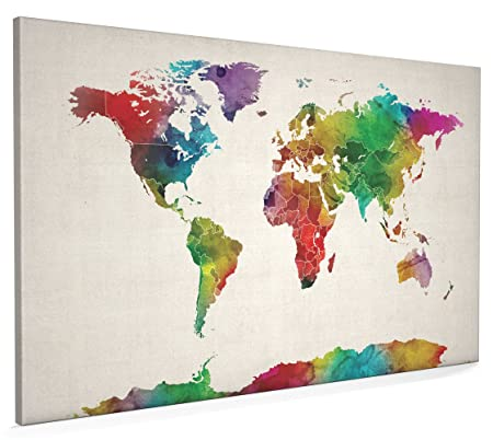 Watercolor map of the world map canvas art print 22x34 inch a1 watercolor map of the world map canvas art print 22x34 inch a1 gumiabroncs Gallery
