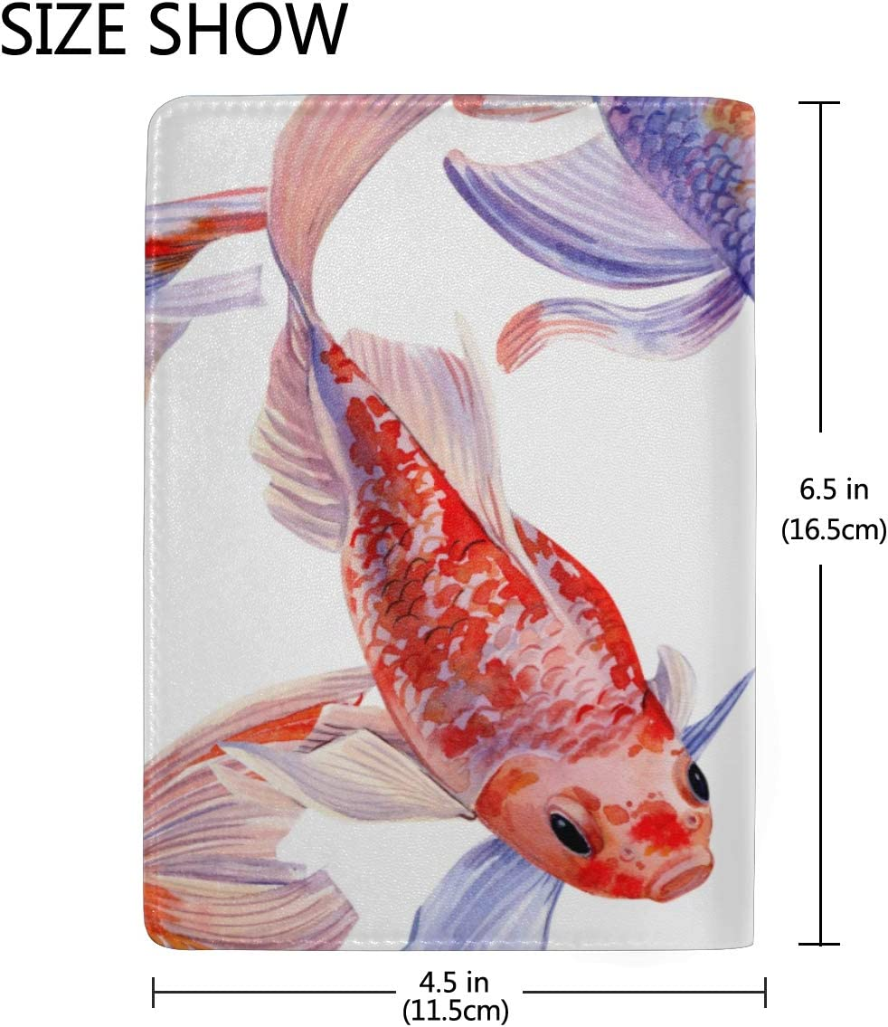 Watercolor Goldenfish Hand-drawn Blocking Print Passport Holder Cover Case Travel Luggage Passport Wallet Card Holder Made With Leather For Men Women Kids Family