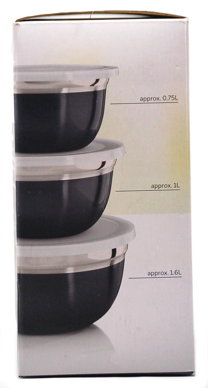 Ernesto - Juego de cuencos de acero inoxidable (tres, con tapas de plástico), color gris: Amazon.es: Hogar
