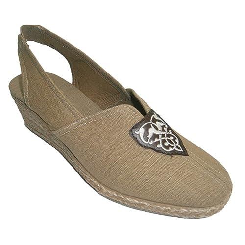 Zapatilla con cuña de esparto abierta por el talón y cerrada por la punta Salemera en marrón: Amazon.es: Zapatos y complementos