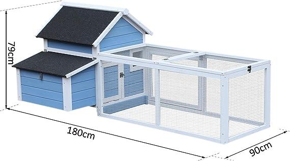 Pawhut gallinero Cottage jaula con gallinas sobre pie DIM. 180L x ...