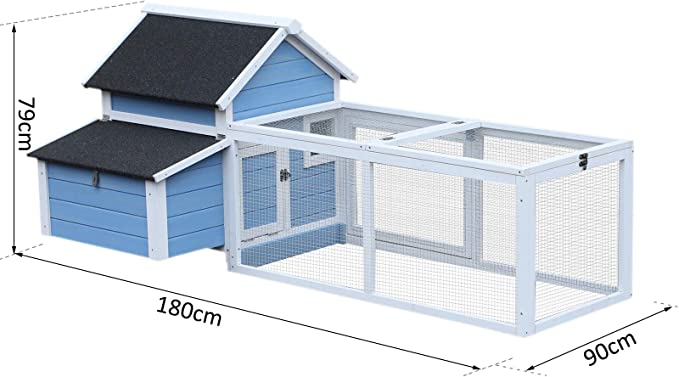 Pawhut gallinero Cottage jaula con gallinas sobre pie DIM. 180L x 90L X 79h cm multi-équipement madera maciza de pino azul blanco: Amazon.es: Productos para mascotas