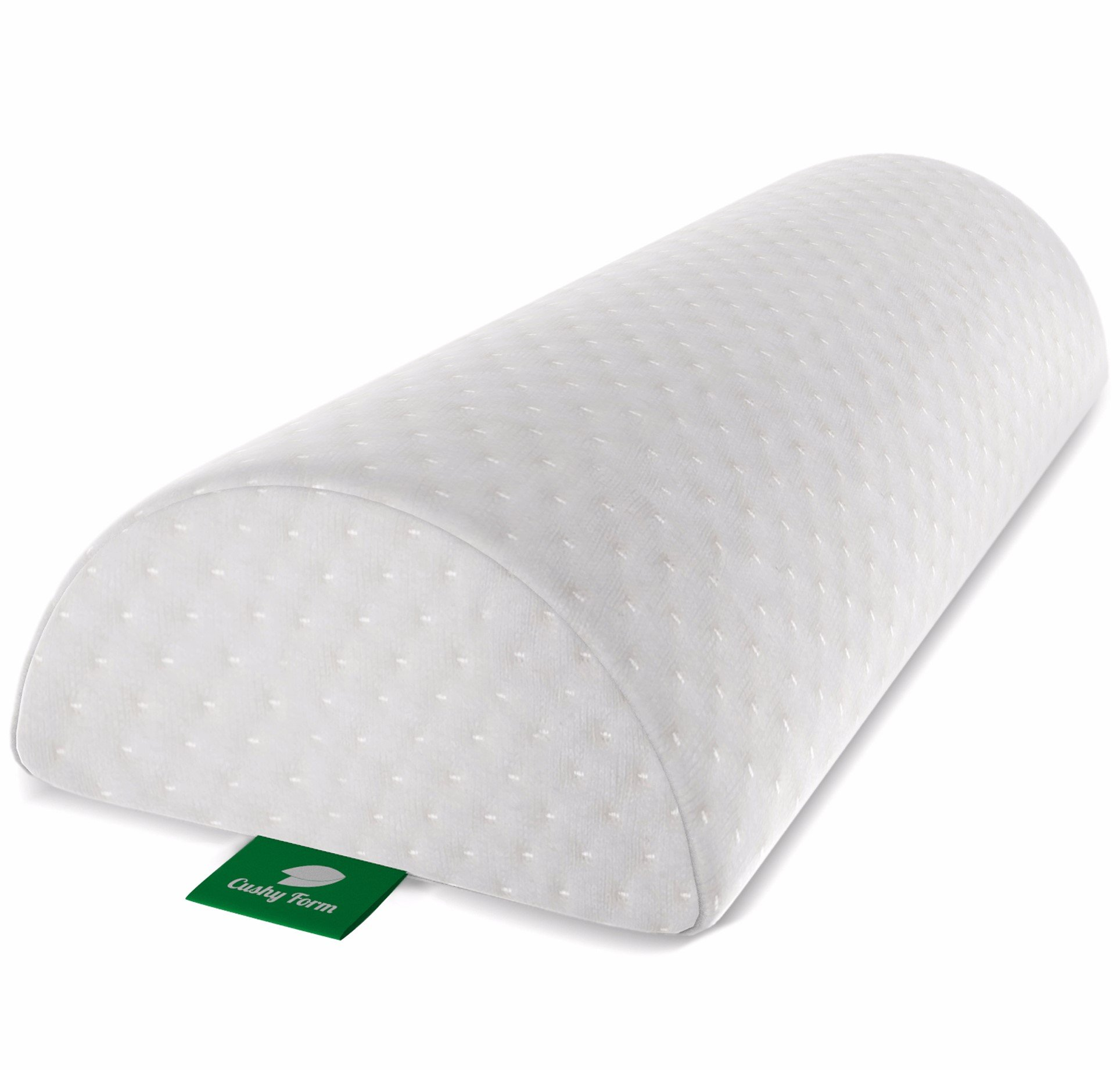Cushy Form Back Pain Relief Half-Moon Bolster/Wedge - Provides Best Support for Sleeping on Side or Back - Memory Foam Semi-Roll Leg/Knee Pillow with Washable Organic Cotton Cover (Large, White)