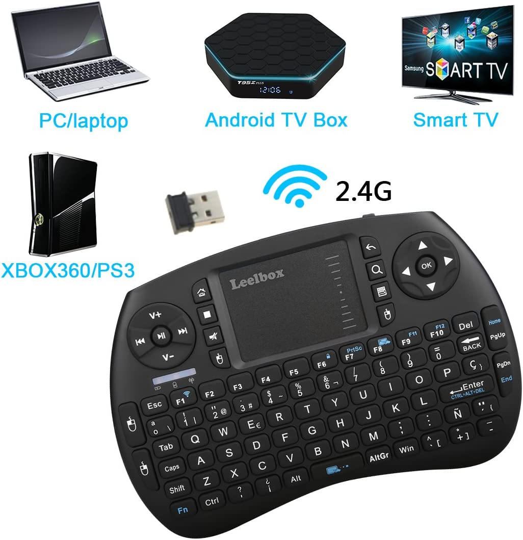 Leelbox Mini Teclado Inalámbrico con Touchpad 2.4GHz Mini Keyboard Teclado Ergonómico con Ratón Touchpad para Android TV Box Smart TV Mini PC Android PlayStationetc (Diseño Español): Amazon.es: Electrónica