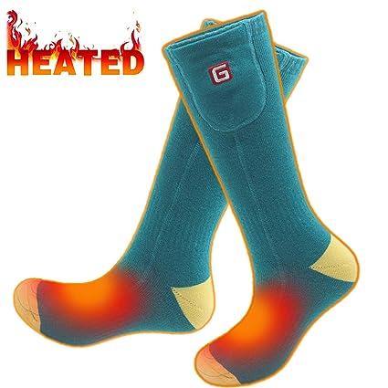 Svpro Batería recargable calentada,calentadores térmicos eléctricos,calcetines para pies para hombres y mujeres