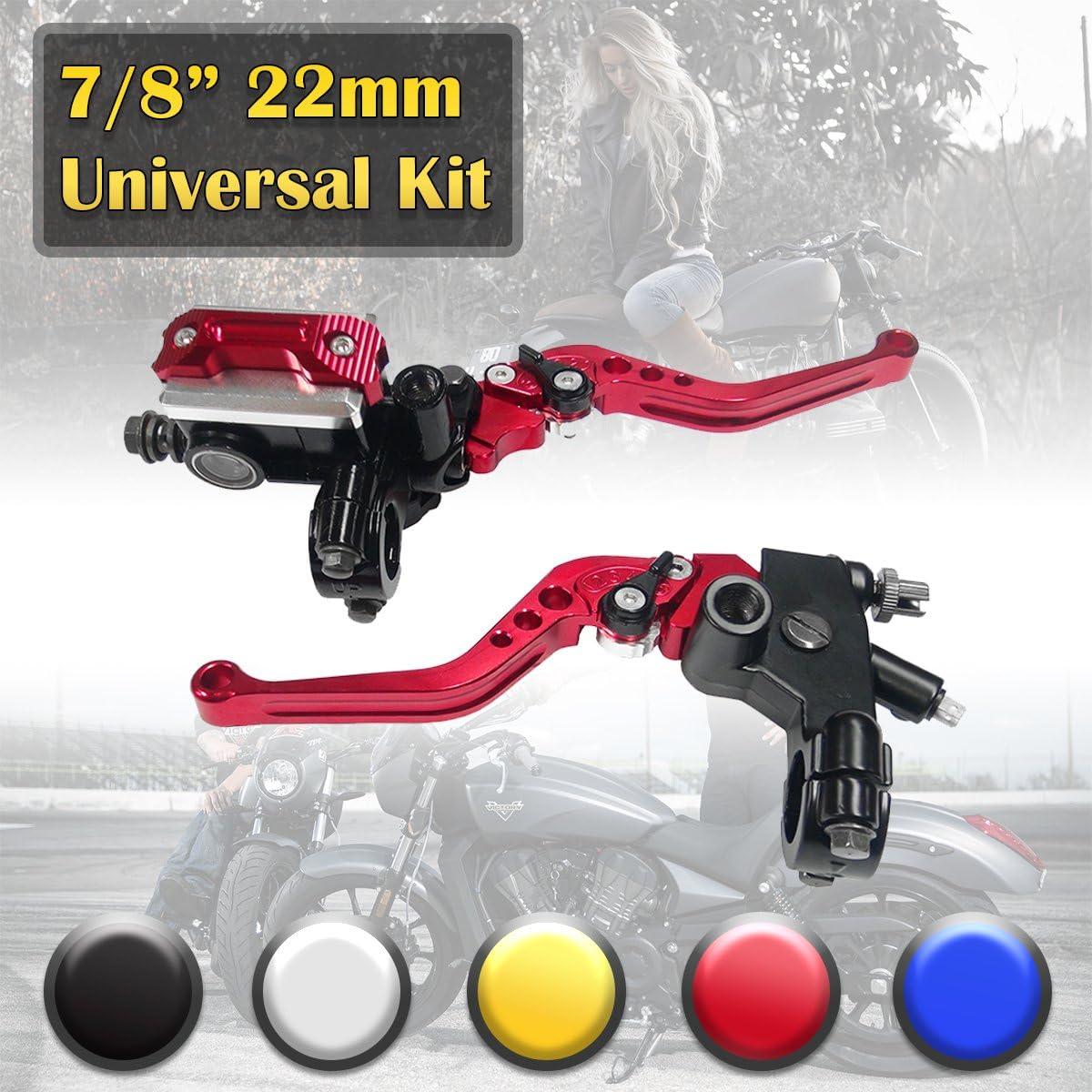 "2X RED Motorcycle Clutch Brake Master Cylinder Kit Reservoir Levers 7//8/""22mm US"