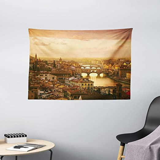 Amazon Com Ambesonne Wanderlust Tapestry Bridge Ponte Vecchio Italy Bird Eye Sunset View Castle Houses Historic Cityscape Wide Wall Hanging For Bedroom Living Room Dorm 60 X 40 Brown Home Kitchen