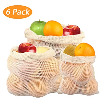 Joy Link de Frutas y Verduras Bolsas, Reutilizable Shopper Red Juego la Compra Bolsillos Produce Bolsillos