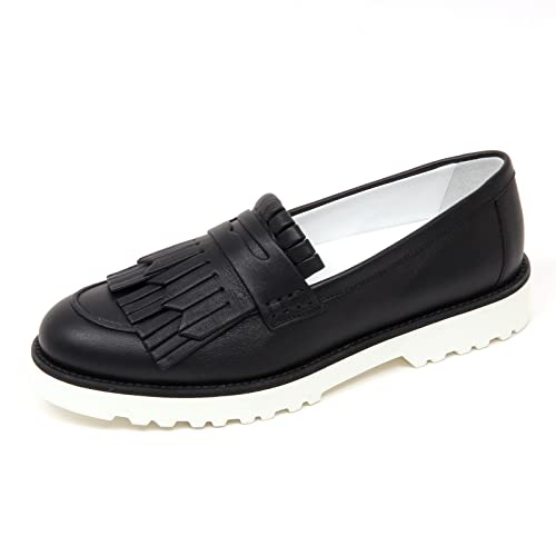 D0340 mocassino donna HOGAN H259 scarpa nero frangia loafer shoe woman