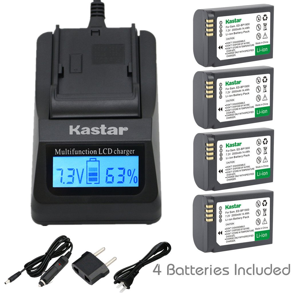 Kastar Ultra Fast Charger(3X Faster) Kit and Battery (4-Pack) for Samsung ED-BP1900, BP1900 Battery and Samsung NX1 Smart Wi-Fi 4K Digital Camera