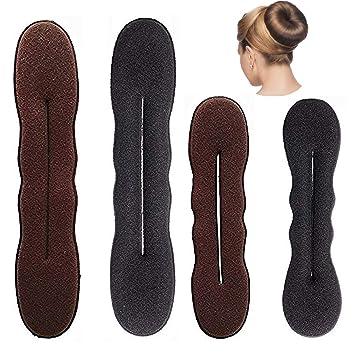 Amazon Moxvin Magic Hair Bun Maker 2 Large 2 Small Brown