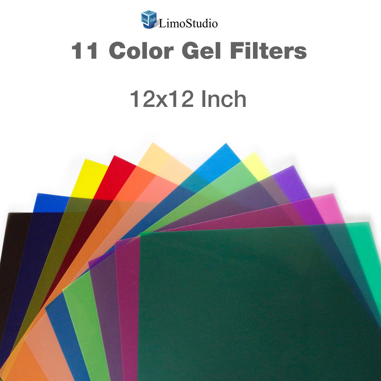 LimoStudio 12'' x 12'' 11pcs Color Gel Lighting Filter Transparent Color Film Plastic Sheets for Camera Flash Light, AGG2556 by LimoStudio