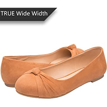 88c90378c7bb Luoika Women s Wide Width Flat Shoes - Comfortable Slip On Round Toe Ballet  Flats