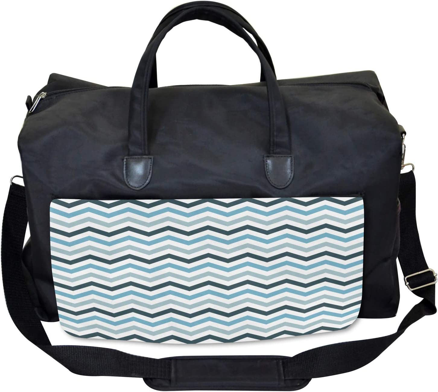 Ambesonne Blue Gym Bag Large Weekender Carry-on Ocean Zig Zag Chevron Line
