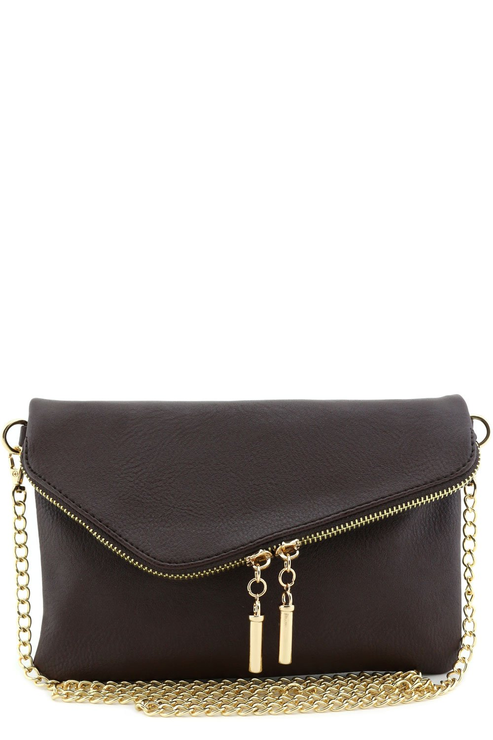 Envelope Wristlet Clutch Crossbody Bag with Chain Strap Brown