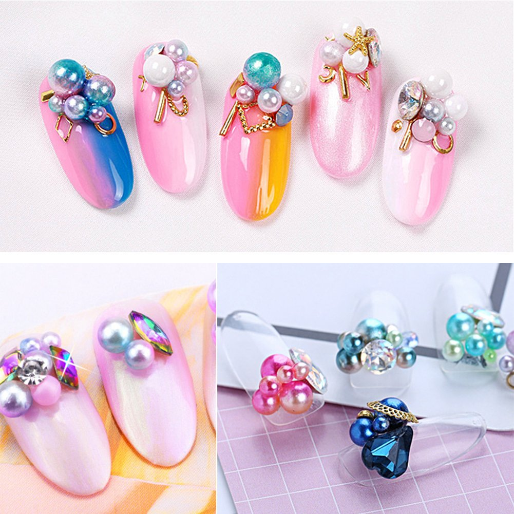 5 Boxes 3D Nail Art Decoration, Shining Nail Rhinestones,Crystal Beads Gems Alloy Nail Charms for DIY Nails, Cell Phone Case DIY Craft, Scrapbooking and Drawing