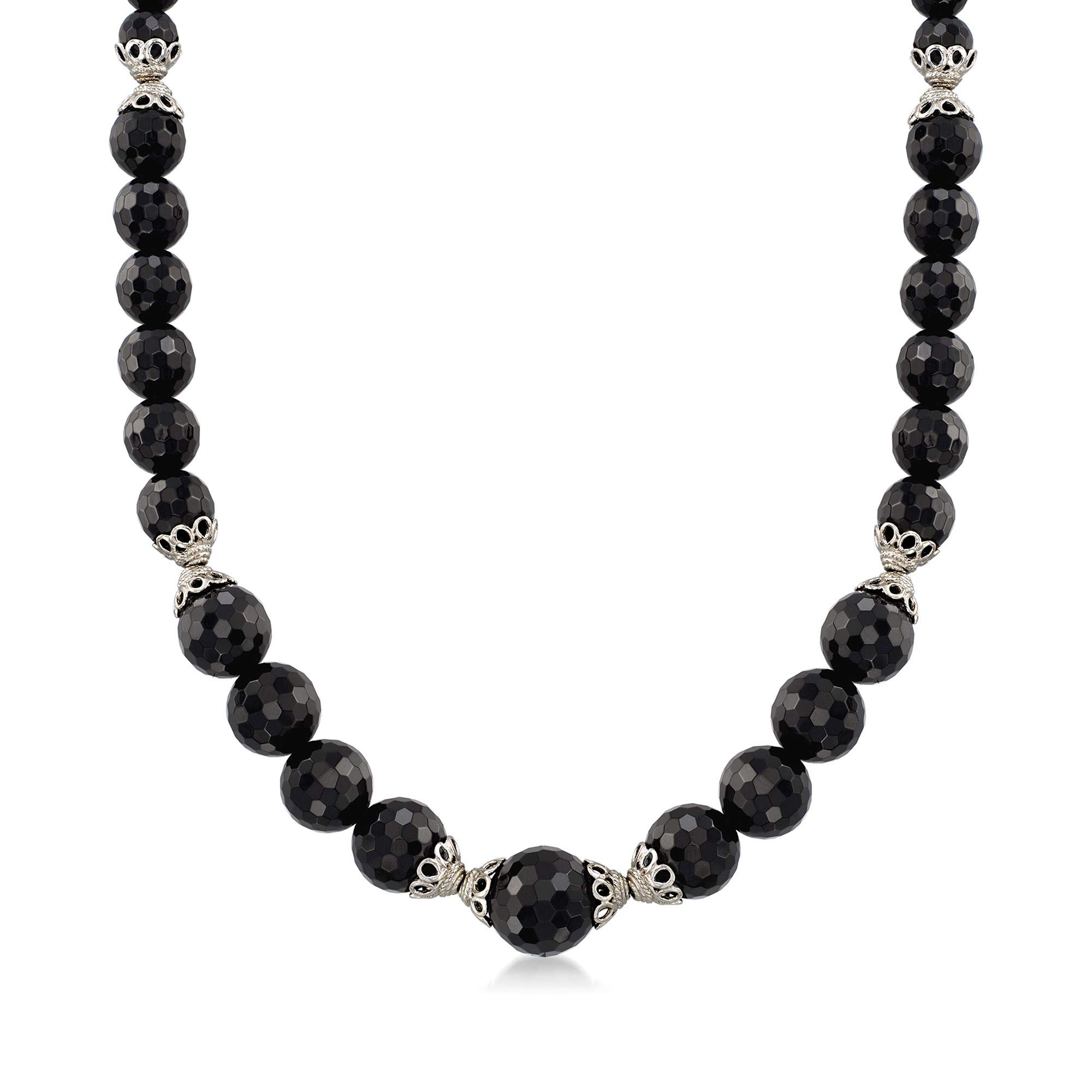 Ross-Simons Graduated Black Onyx Bead Necklace With Sterling Silver Lacy Cap Stations by Ross-Simons