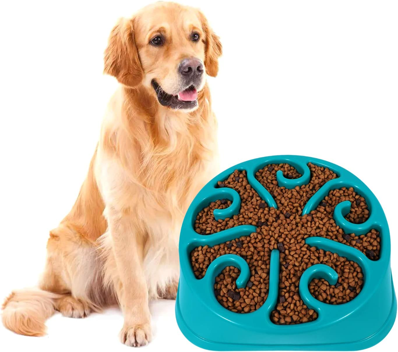 KASBAH Slow Feeder Dog Bowl for Large Dogs, Anti-Gulping Dog Food Bowls Non-Toxic Eco Friendly Maze Dog Bowl for Big Dogs, Blue