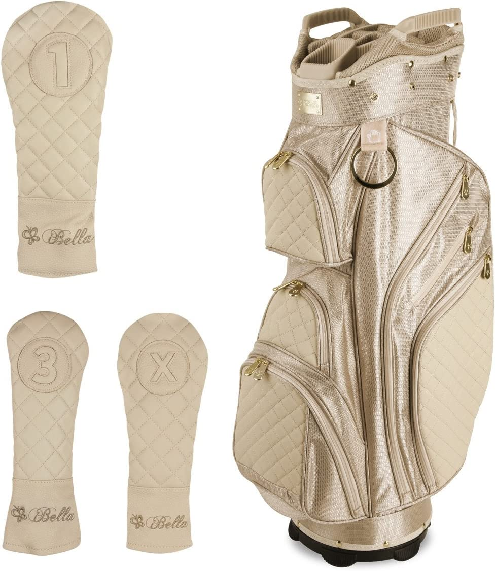 iBella Tan Ladies Golf Cart Bag with 3 Matching Headcovers