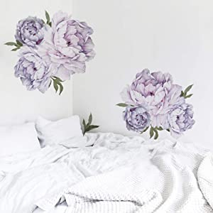 Floral Bedroom Wall Decor, Purple Peony Flowers Living Room Wall Decals for Nursery Wall Decorations Removable Wallpapers Delicate Murals Art Applique