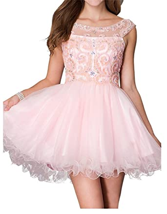 AngelDragon Short Tulle Ball Gowns Appliques Beading Evening Party Prom Dress UK-4 Custom Made