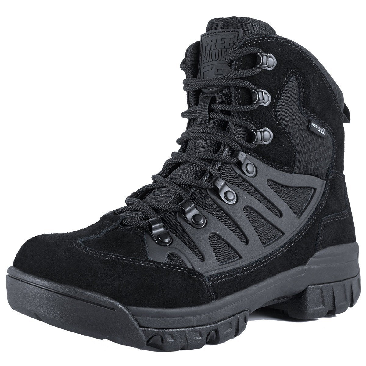 FREE SOLDIER Men's Outdoor Military Tactical Ankle Boots Ultra Combat Mid Hiking Boot (Black + Suede Leather, 11 US)