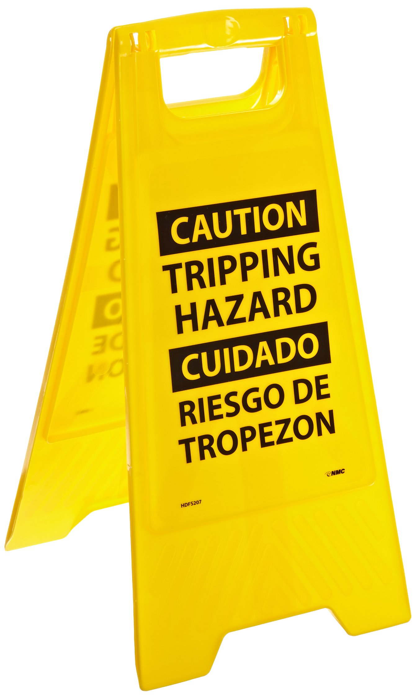 NMC HDFS207 Bilingual Heavy Duty Floor Stand Sign, Legend ''CAUTION TRIPPING HAZARD'', 10-3/4'' Length x 24-5/8'' Height, Black on Yellow
