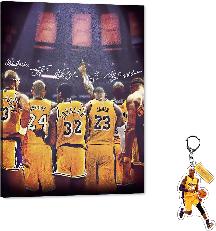 LA Lakers Legend Canvas Wall Art, Wilt Chamberlain/Magic Johnson/Kareem Abdul-Jabbar/Shaquille Rashaun O'Neal/Kobe Bryant/Lebron James Canvas Painting Poster Picture for Home Wall Decor (30