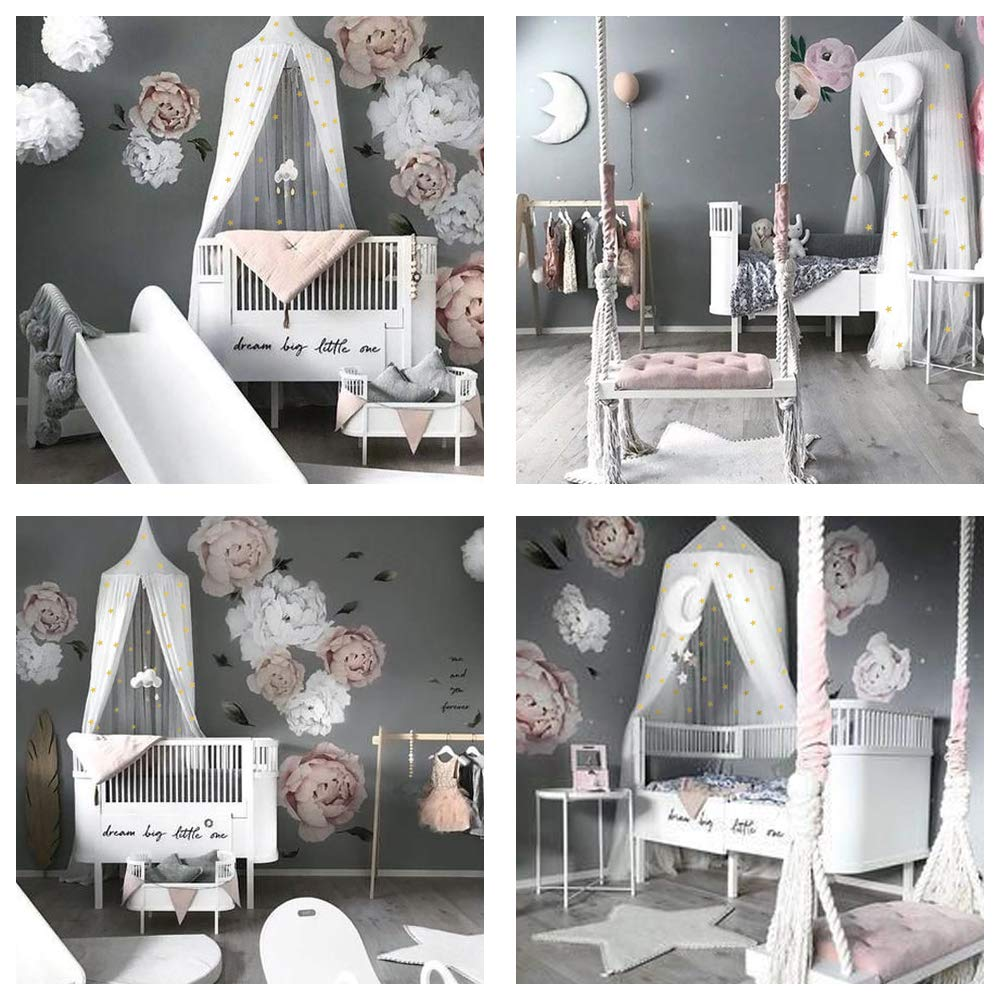 STZ Bed Canopy for Princess Girls Room Decorations with Fluorescent Stars Glow in Dark -Reading Nook for Kids-Canopy Bed Curtains-Hanging Tent-White by STZ (Image #5)