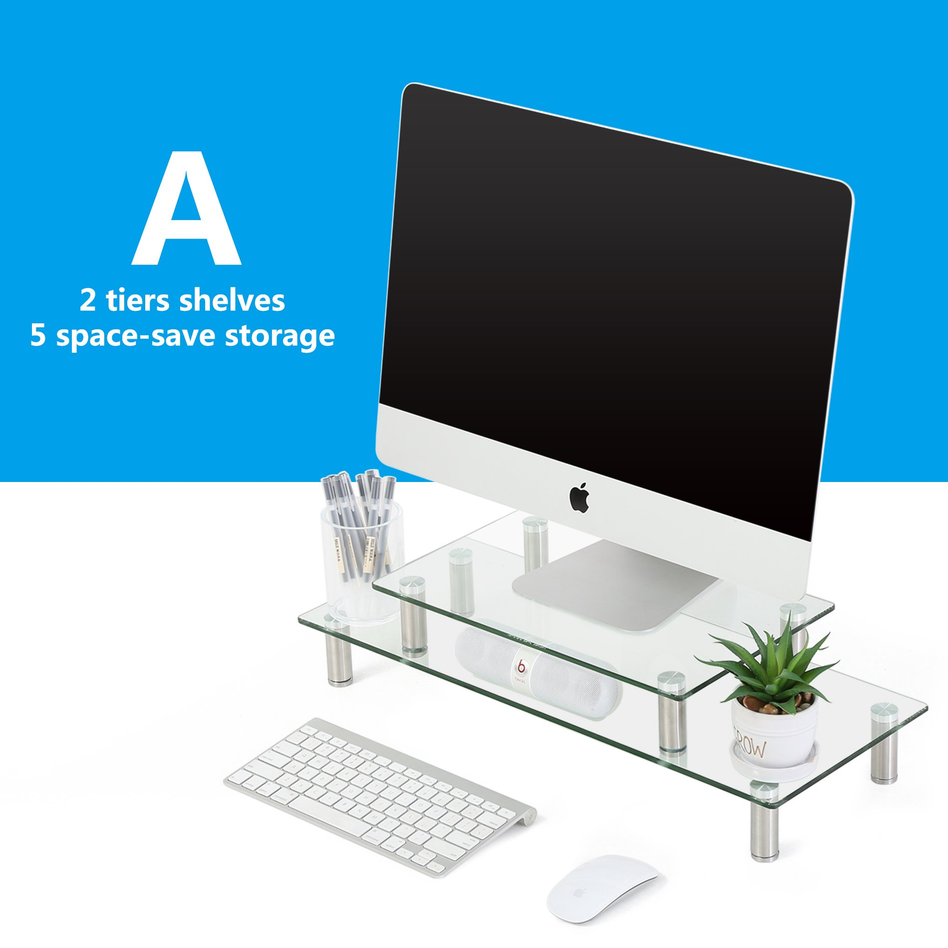 FITUEYES Clear Tempered Glass Computer Monitor Riser with Height Adjustable Multi Media Desktop Stand for Flat Screen LCD LED TV, Laptop/Notebook/Xbox,DT206002GC by Fitueyes (Image #4)